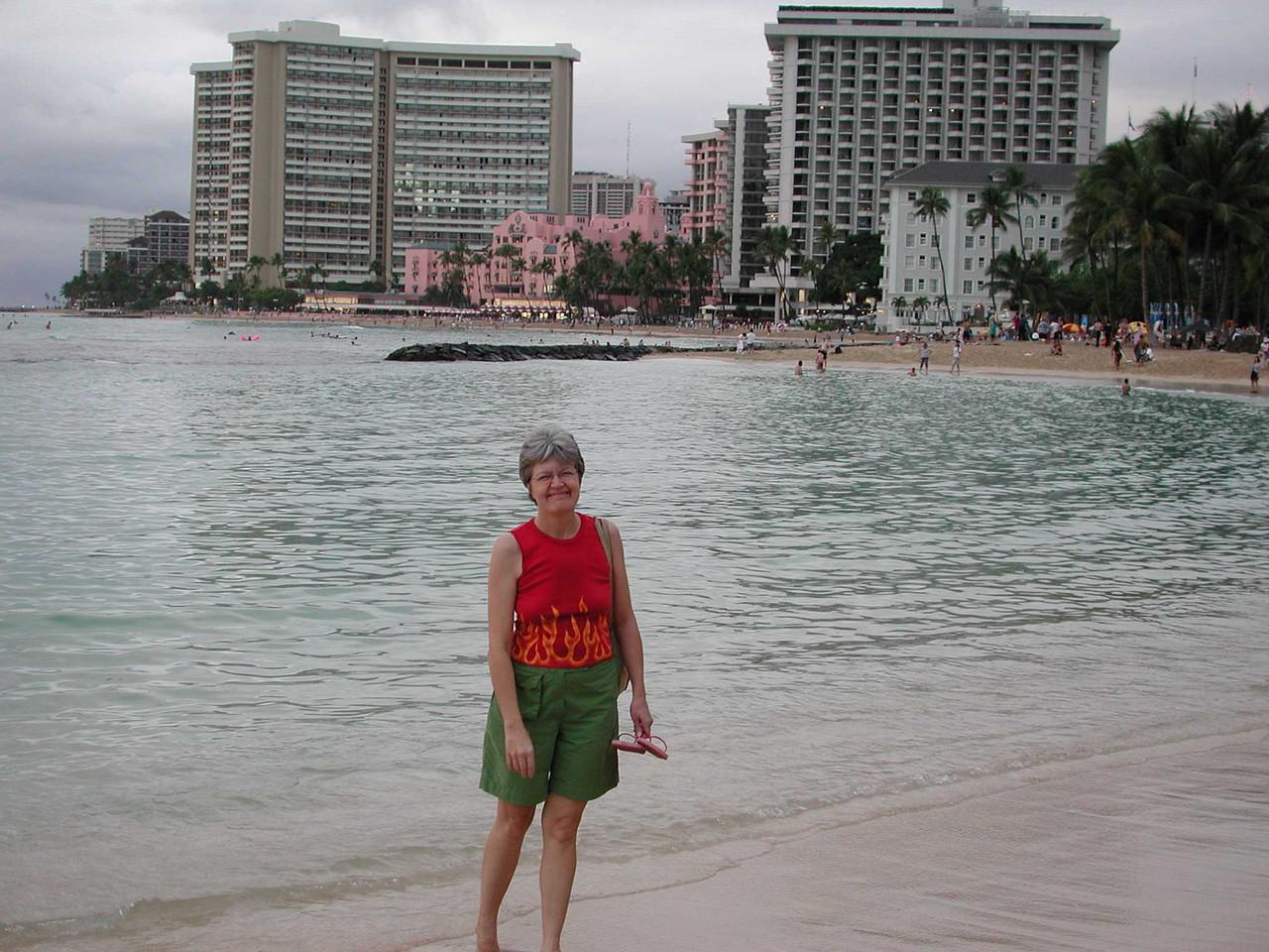 Louise on the beach.