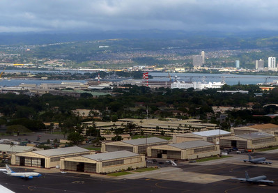 Flying over Hickam Field, Pearl in distance
