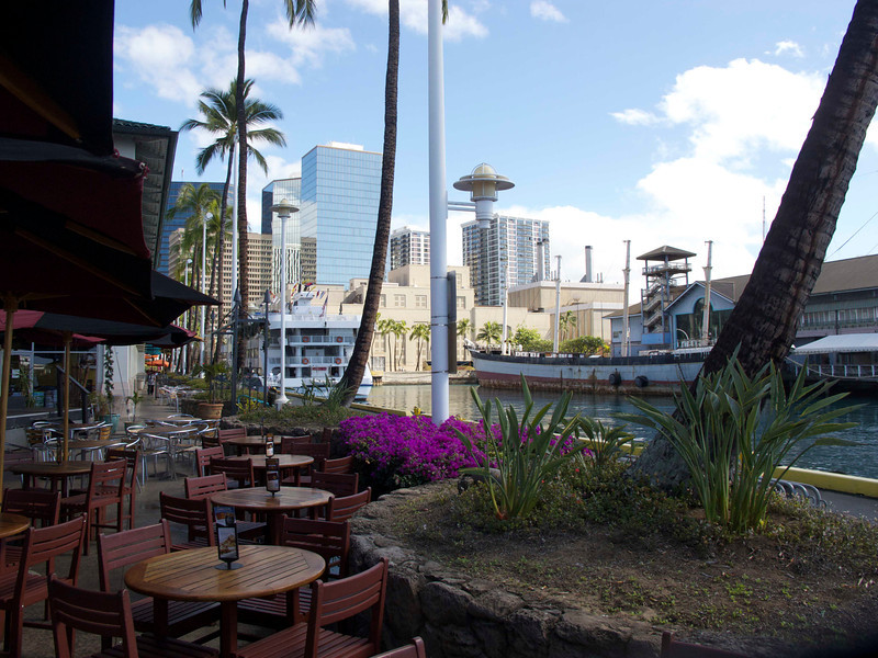 A view toward downtown Honolulu from a dining area near the Aloha Tower.