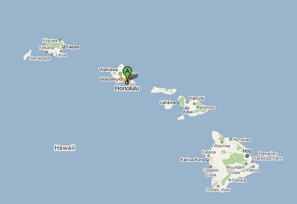 Honolulu is located on the island of Oahu.  Here is where it is relative to all the Hawaiian islands.
