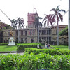 The Judiciary Building and the bronze statue of King Kamehameha in Honolulu, Hawaii.