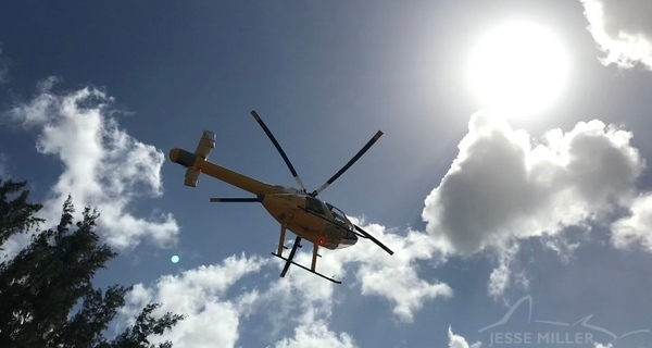 Rescue Helicopter at Shark's Cove, North Shore