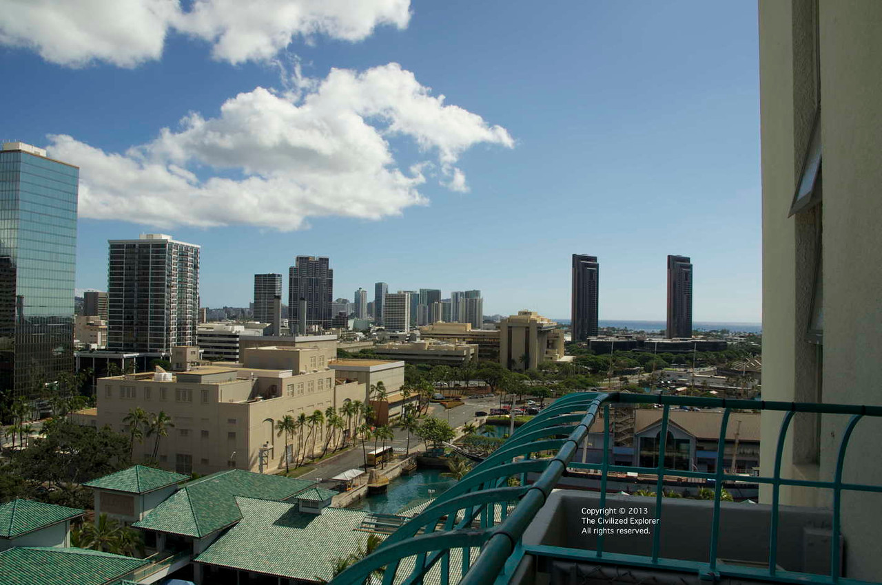 A view toward Waikiki from the observation deck