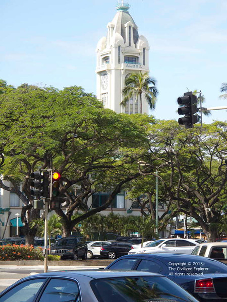 The Aloha Tower as seen from the street