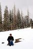 Karishma enjoys the white landscape.<br /> On the way to Cedar Breaks national monument.