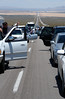 The traffic back from Vegas to California was stalled because of an accident. The backlog extended as far as the eye could see. And all the people stepped out of their vehicles to walk around and socialize.