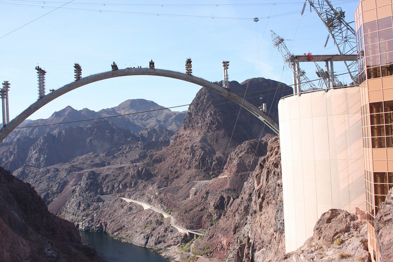 Again from the top of the dam, looking more toward the west/Nevada side, with the visitor's center in the foreground.