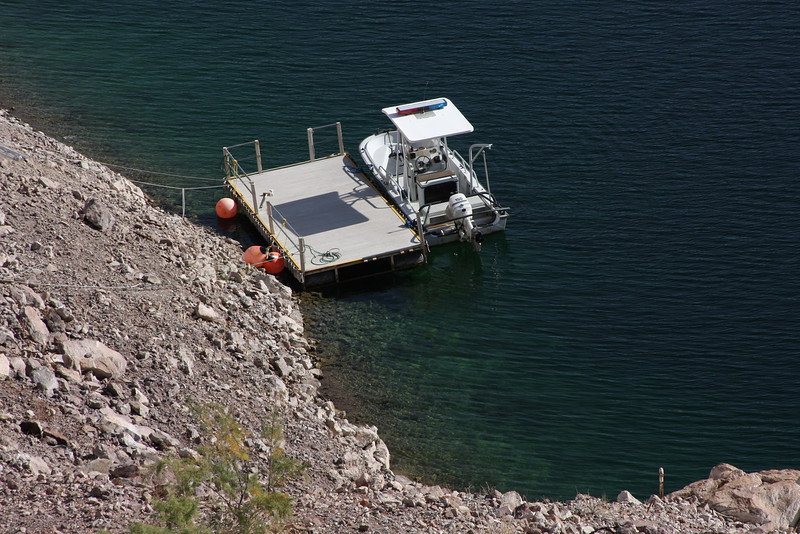 The water in Lake Mead near the dam was exceptionally clear.  This boat was docked just below the mouth of the Nevada spillway.