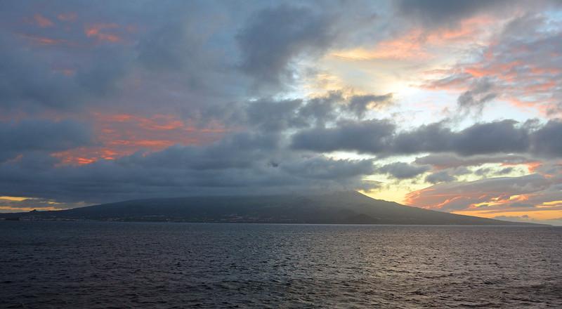 Sunrise over Horta Volcanic Island