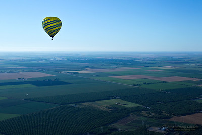 Sacramento Valley: view from hot air balloon above the valley, California, USA.
