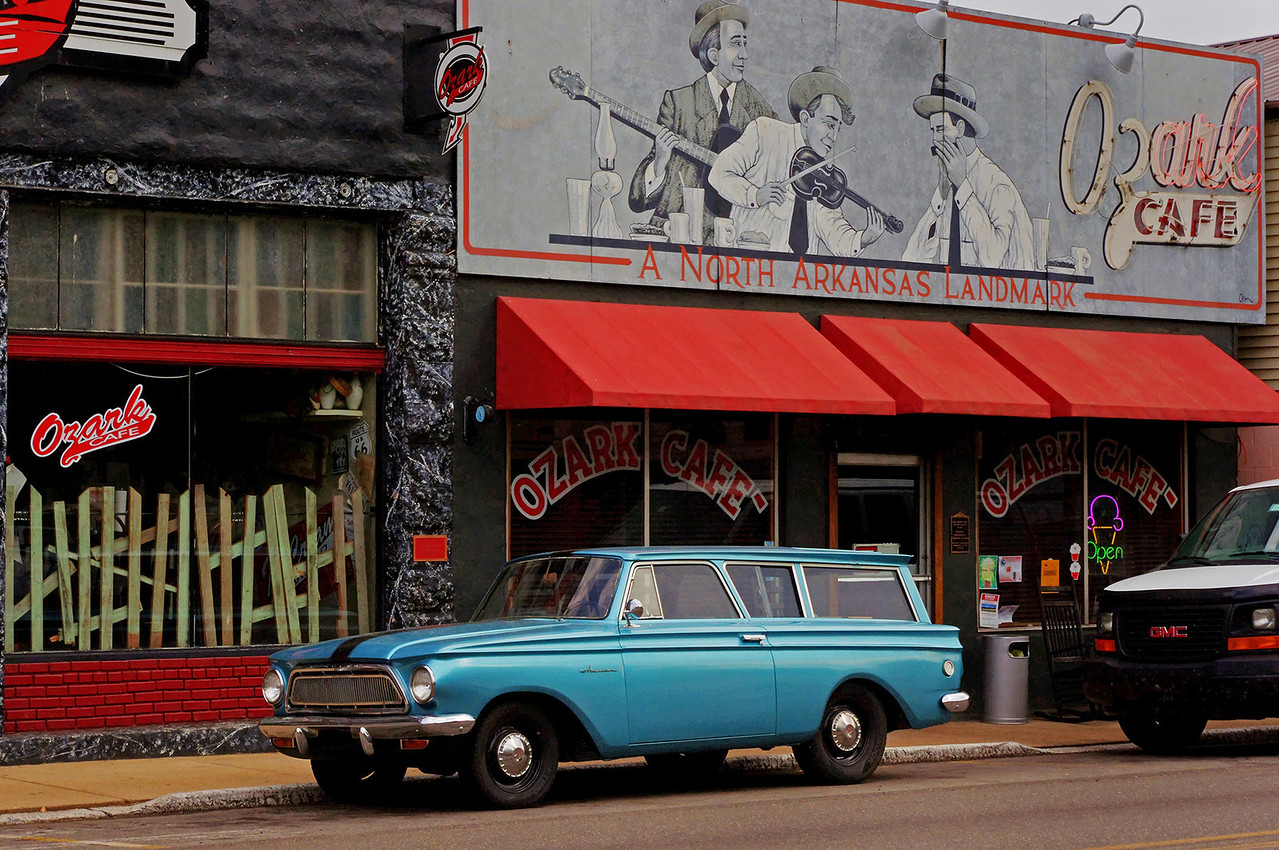 1962ish Rambler station wagon, Ozark Cafe, Jasper, Arkansas.