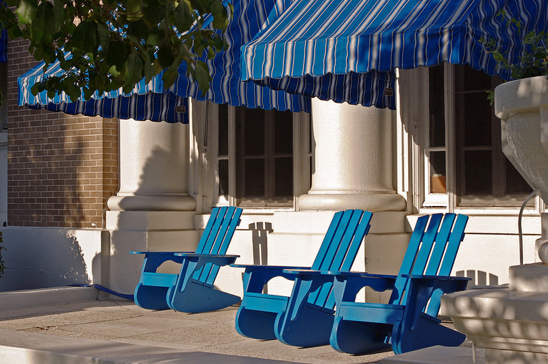 Blue chairs at the Buckstaff Bath House, Hot Springs, Arkansas.