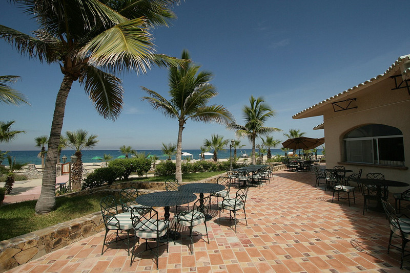 The resort is on the Sea of Cortez, the body of water between mainland Mexico and the Baja Peninsula. Meals are served on the terrace, over looking the spectacular water front view.