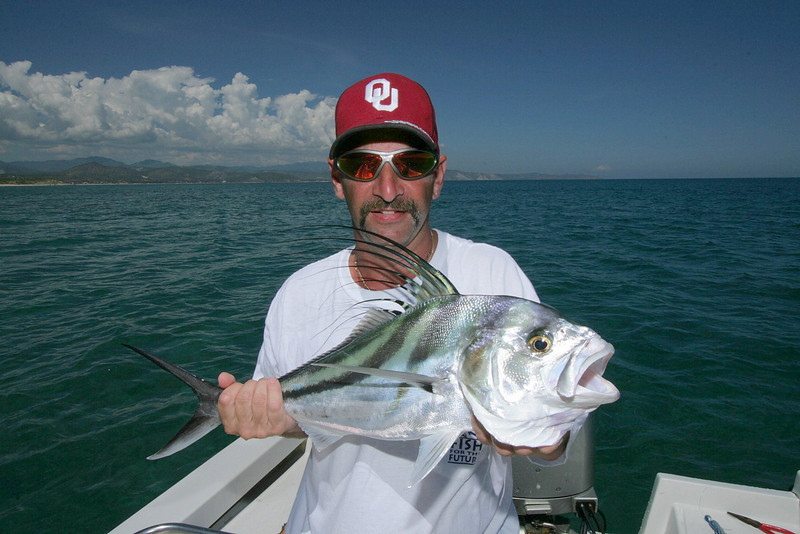 Rooster Fish are found near structure close to shore in about 15 feet of water, or less.