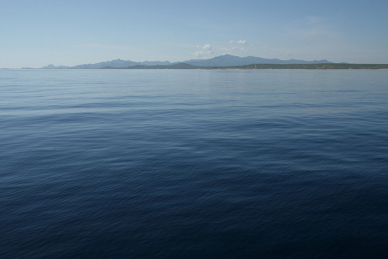 Glass calm seas are common in the East Cape region of the Baja Peninsula.