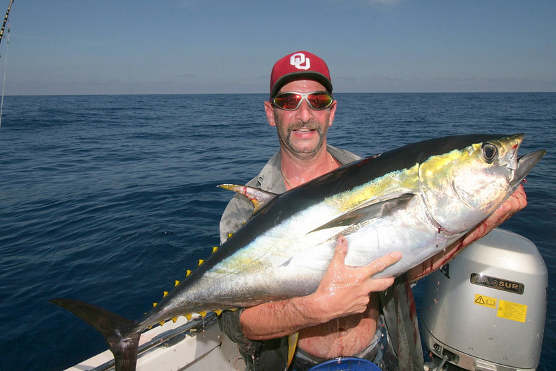 Dominick proudly holding his first on many Tuna of the day.