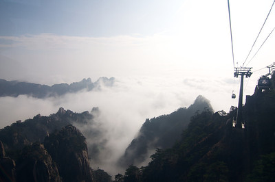 Cable car up Huangshan. At times the visibility was zero heading through the clouds.