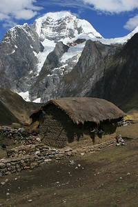 Typical mountain valley house: Mud walls, thatch roof, dirt floor