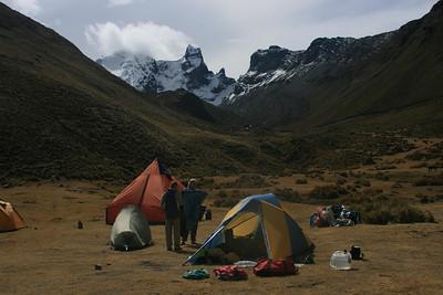 Campsite near Rio Pumarinri Hot Springs: Mt. Cuyoc in the background