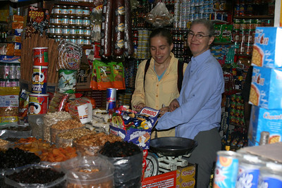 Buying food for the Huayhuash Trek: We bought most of our food from this vendor in the market.