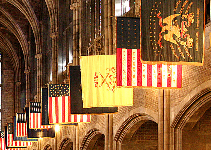 Flags at the Cadet Chapel. West Point Military Reservation, West Point, NY