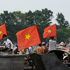 Anywhere you go in Vietnam you see countless flags...