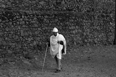 Elderly man walking to Church Ethiopia