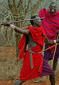 Teaching how to throw a spear Kenya