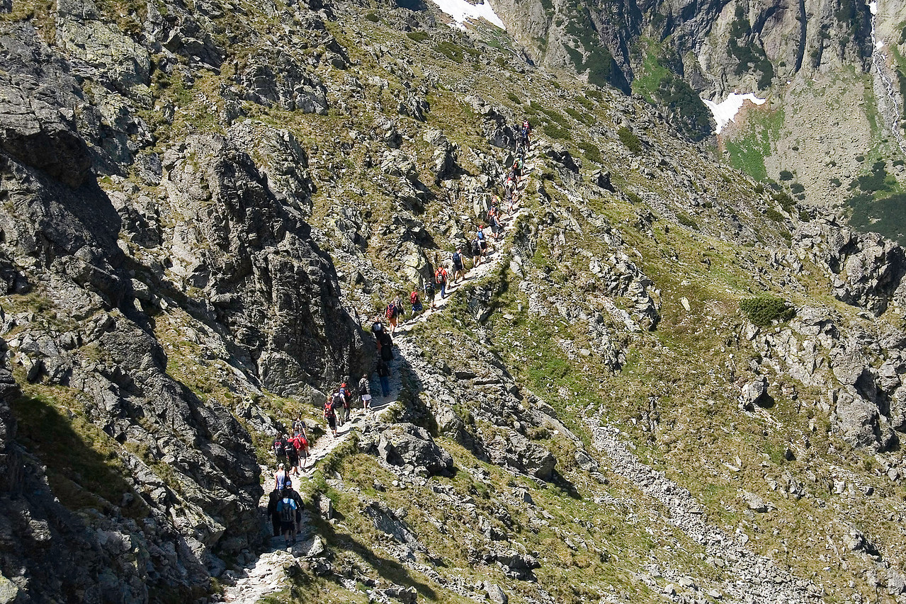 Crossing the High Tatras, ascending about 1,200 feet and skirting around alpine lakes and windswept granite peaks. Descend into Javorina Valley, where you'll come upon Chalet Pri Zelenom Plese (Chalet at the Green Lake), an alpine hiker's hut built in 1924 and one of the most dramatically situated chalets in the High Tatras.