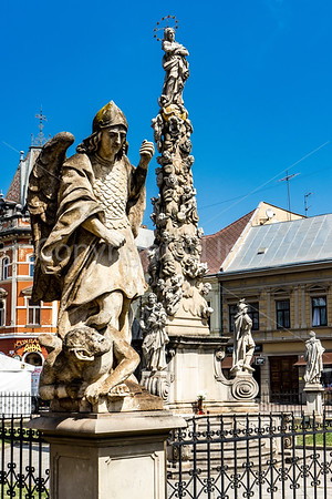 Statue and Plague column in Kosice, Slovakia