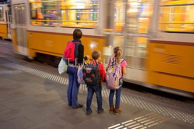 Tram crossing at Széll Kálmán Square, Budapest, Hungary