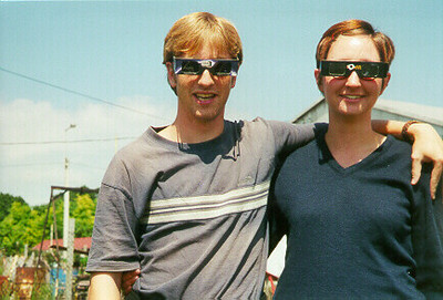 Melissa & I preparing for solar eclipse, Hungary