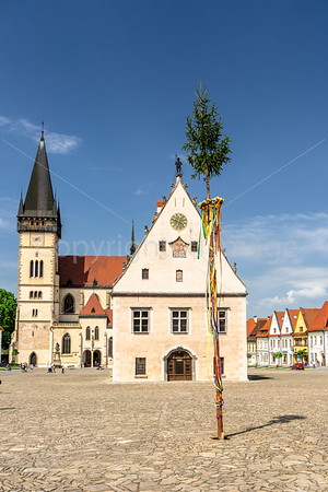 Maypole in Town Hall Square in Bardejov, Slovakia.