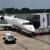Airplane waits to board passengers at the airport in Huntsville, Alabama.