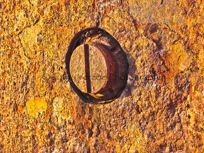 A glitter of gold as the rust catches the setting sun on the wall of Hurst Castle