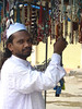 Bead seller at Charminar. I bought a couple of ethnic necklaces.