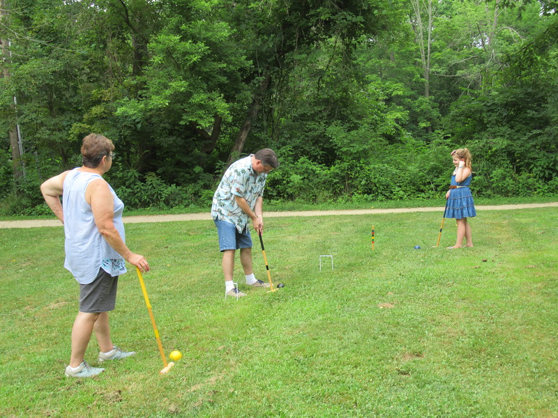 Croquet with Aunt Jane, Mike and Lily.