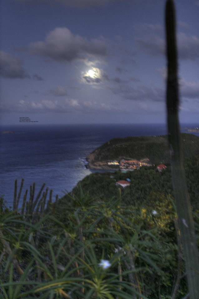 The view from our villa at night (that's the moon)