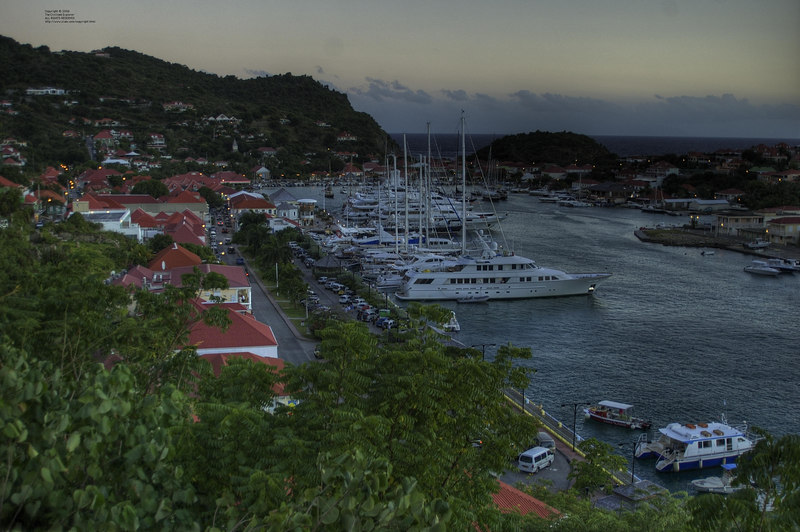 Gustavia. View as original size - you can see people in the veranda of the hotel and other details.