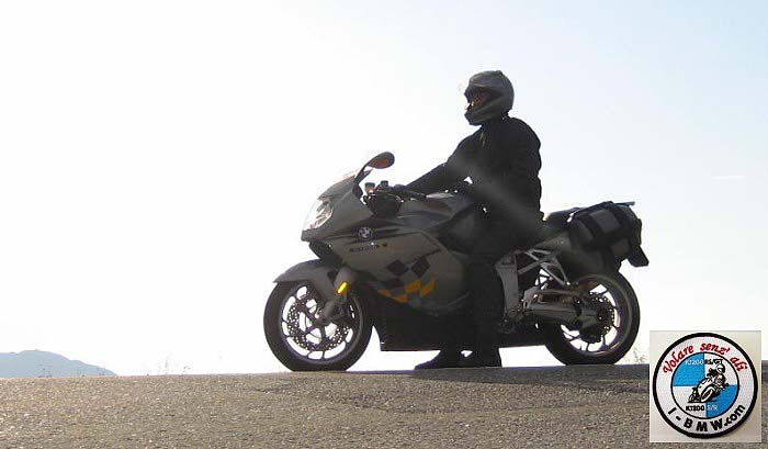BMW K1200S at North Cape, 71 degrees 21 minutes 10 second north.