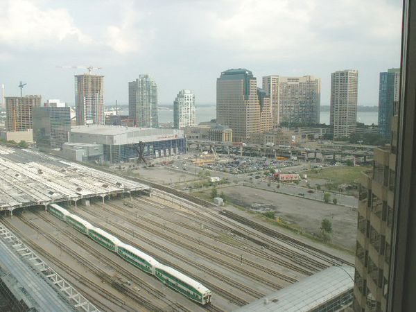 View toward Lake Ontario from the InterContinental Hotel. AirCanada arena and rail yard at Union Station in the foreground.