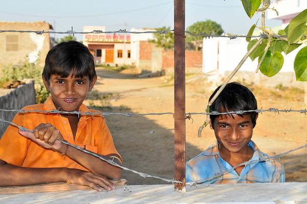 Neighborhood children at Ashok's school in Jaipur.