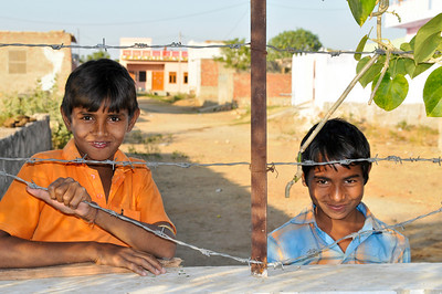 Neighborhood children at Ashok's school in Jaipur.