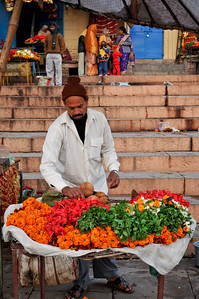 Seller of marigolds on the ghats in Varanasi.