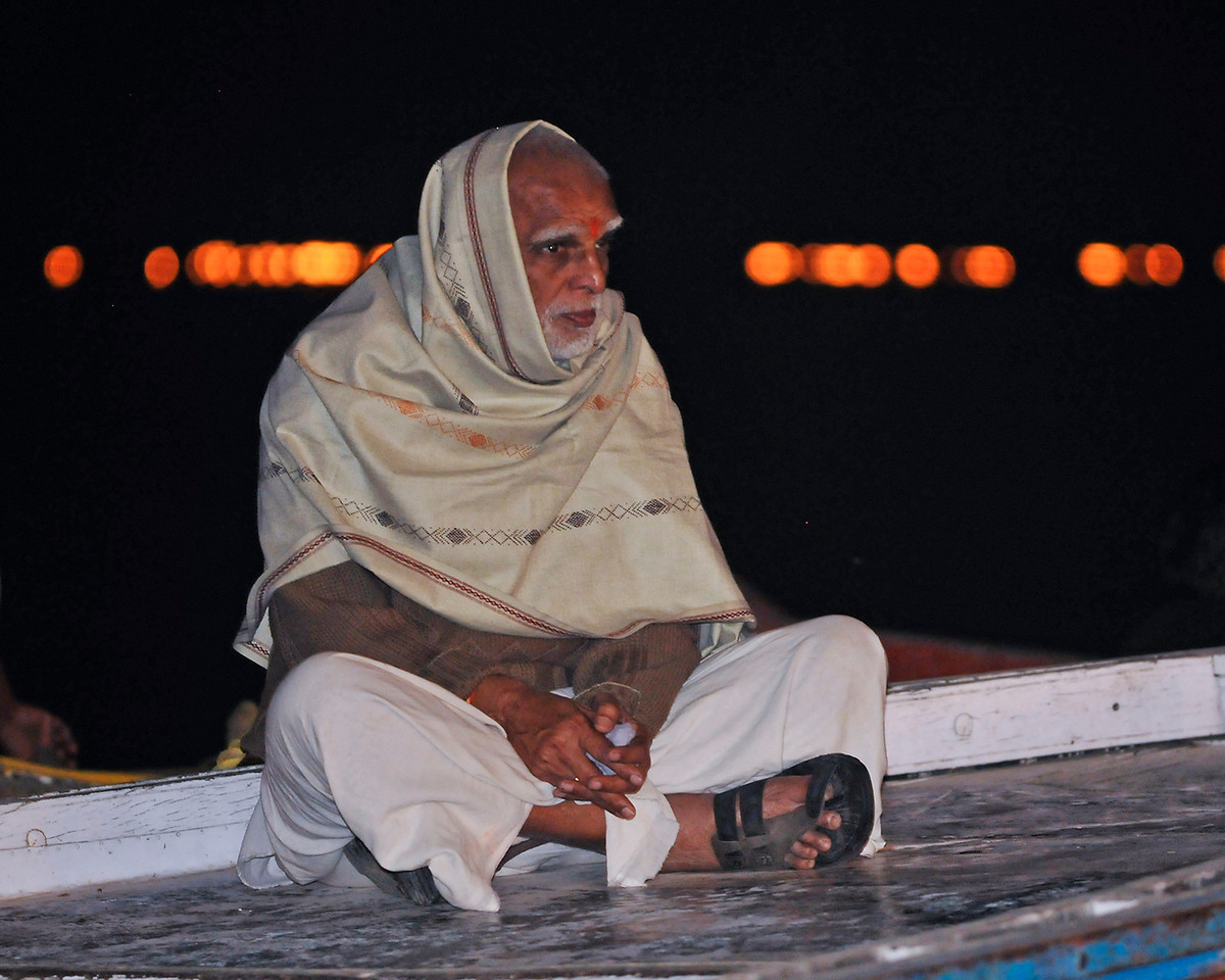 Watching the evening Hindu ceremony from a boat on the Ganges.
