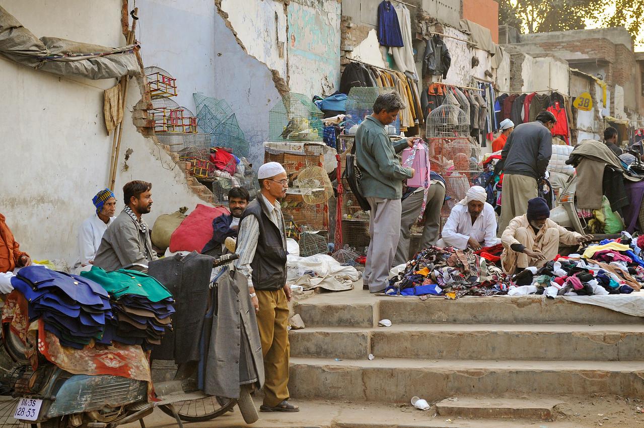 Sidewalk vendors in the Chandni Chowk, Delhi.
