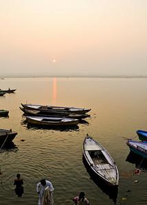 Sunrise on the Ganges River in Varanasi.