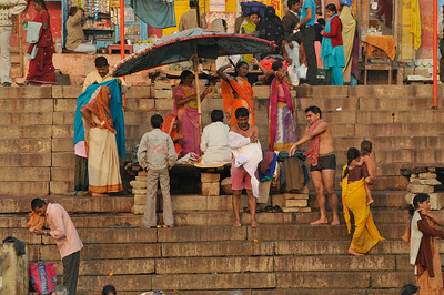 Bathing in the Ganges in the morning. Varanasi.