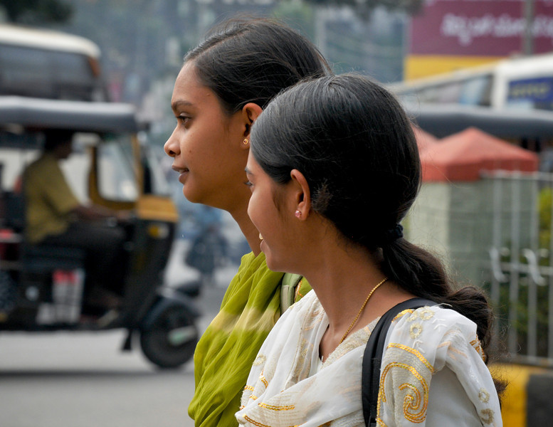 Street scenes. Two young women.