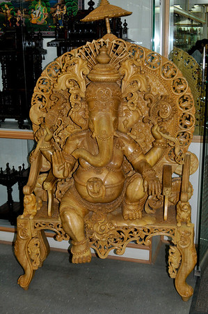 A carved figure of the god Ganesha.